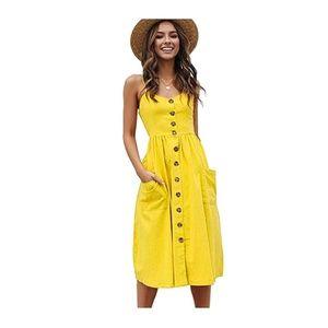 Yellow-B Spaghetti Strap Button Down Pocket Dress
